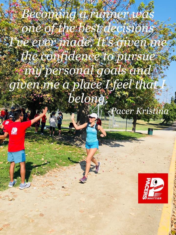 """""""Becoming a runner was one of the best decisions I've ever made. It's given me the confidence to pursue my personal goals and given me a place I feel that I belong."""" - Pacer Kristina"""