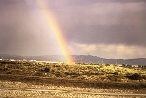 Rainbow after our first Los Angeles Marathon in 1996.